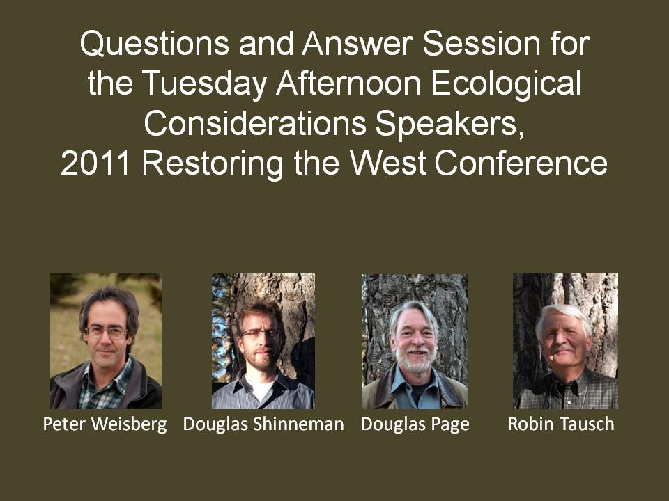 Ecology Panel Tuesday Afternoon