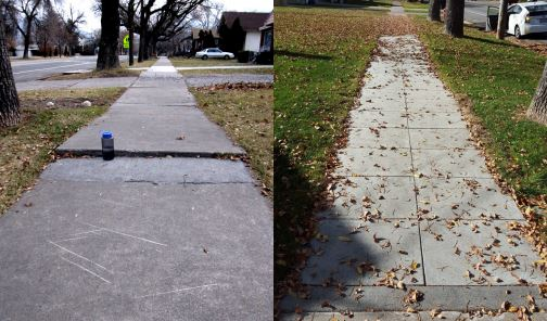 Before and after sidewalk located on the south side of 200 North between 400 and 500 West (444 W 200 N) in Logan. This sidewalk was excavated and sidewalk tiles were installed in fall 2015.